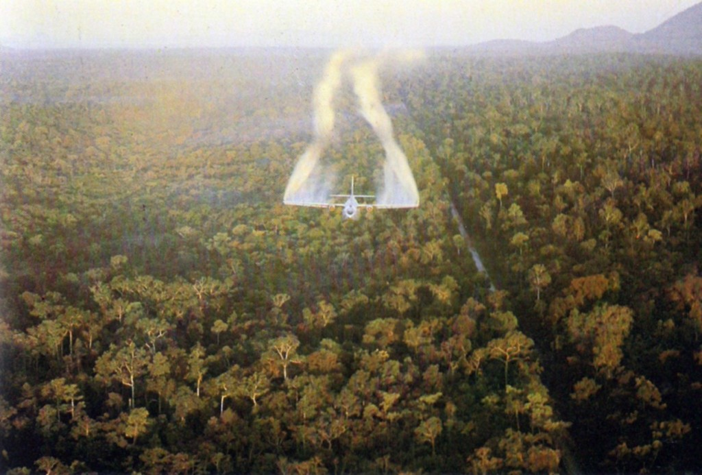 : U.S. plane spraying Agent Orange on Viet Cong crops and cover during the war (USAF). , mack payne, vietnam veteran news